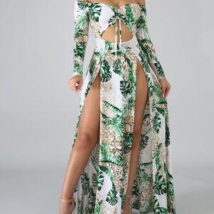 Dresses & Skirts - Palms Printed Off Shoulder Deep Slit Maxi